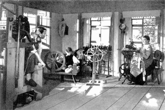 The production of hand-knit stockings was a major cottage industry. Domestic work for the hosiery industry was often done by families with small farms. While the father knit, the children produced yarn and the mother sewed the stockings together.