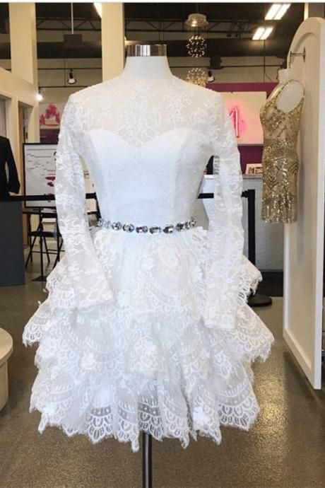 long sleeves homecoming dress,lace homecoming dress,short white prom ...