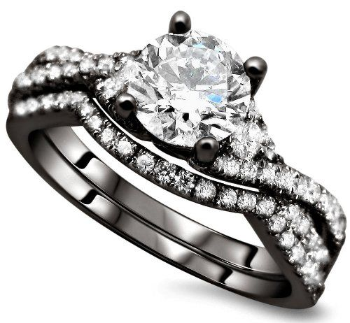 120ct Round Diamond Engagement Ring Wedding Set 18k Black Gold Rhodium Plating