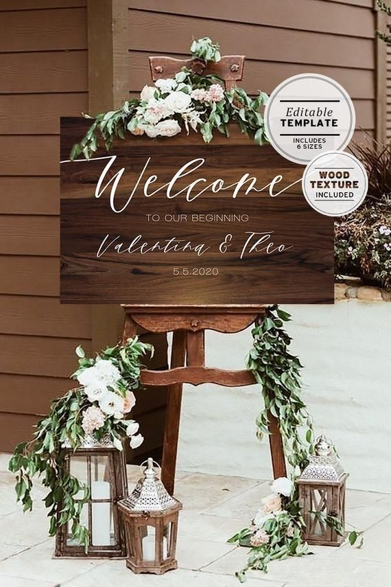 Dark Wood Textured Wedding Welcome Sign Editable Template | Etsy