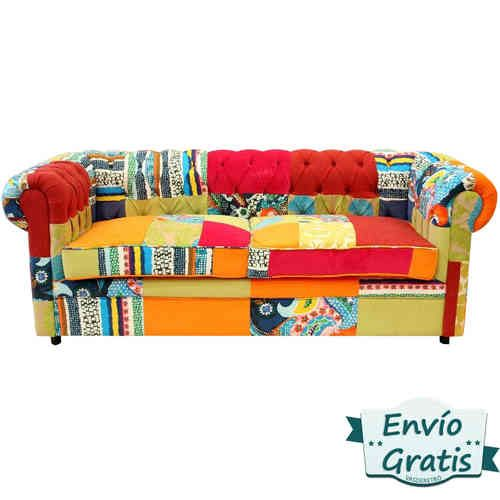 Sofa estilo chester tapizado en patchwork multicolor un for Sofas pequenos y comodos