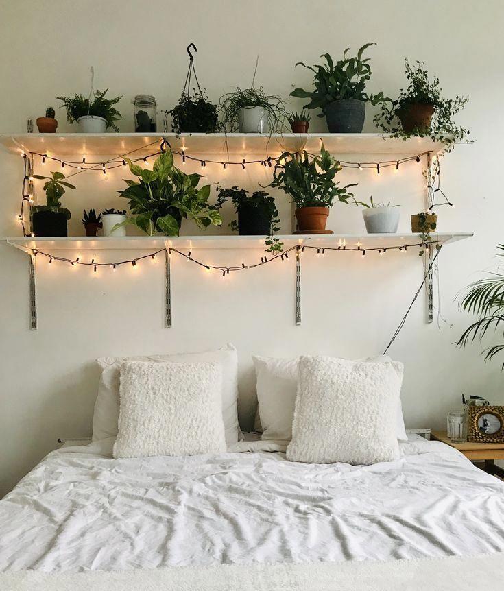 room plants lights white bohemian room decor - -