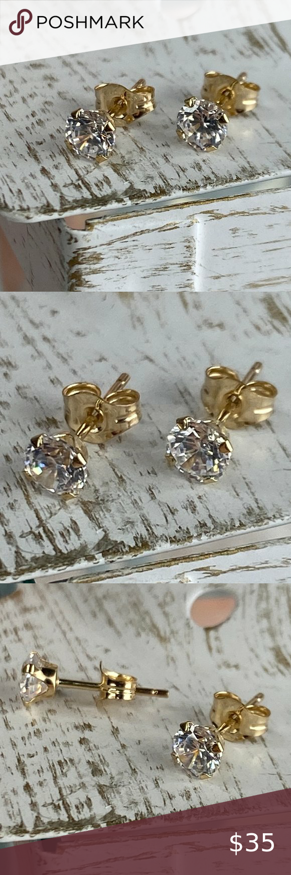 Solid 10k Gold Cubic Zirconia Stud Earrings Boutique In 2020 With Images Stud Earrings Cz Stud Earrings Women Jewelry