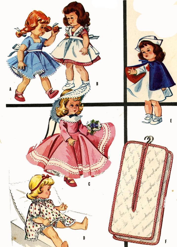 Vintage Doll Clothes Pattern 2057 for 7 8 inch Ginny Wendy Muffie by ...