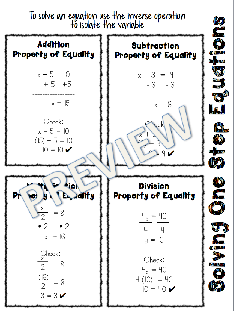 One Step Equation Reference Sheet One Step Equations Equations Middle School Math