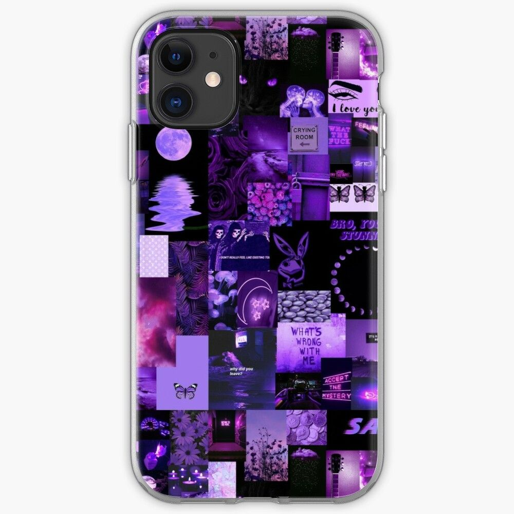 Purple aesthetic collage iphone case by arthemeral in