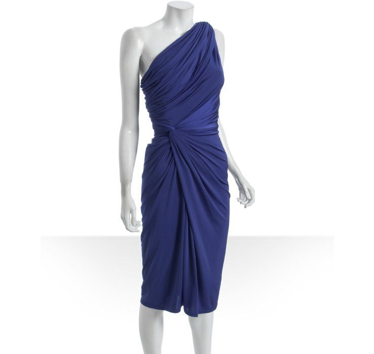 Tadashi Shoji Blue D Jersey One Shoulder Dress
