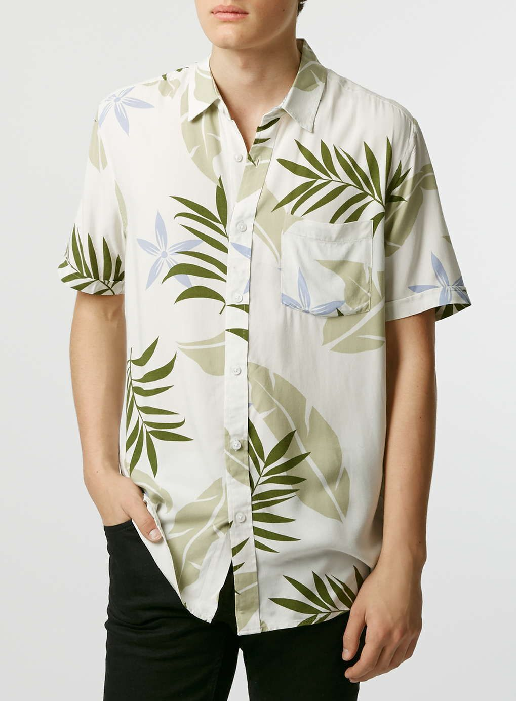 67715ab2 White/Green Plant Print Short Sleeve Casual Shirt | layers | Casual ...