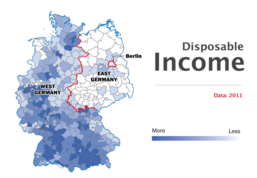 maps and satellite imagery interpreted to tell the ongoing difference between east and west germany 25 years after the fall of the berlin wall