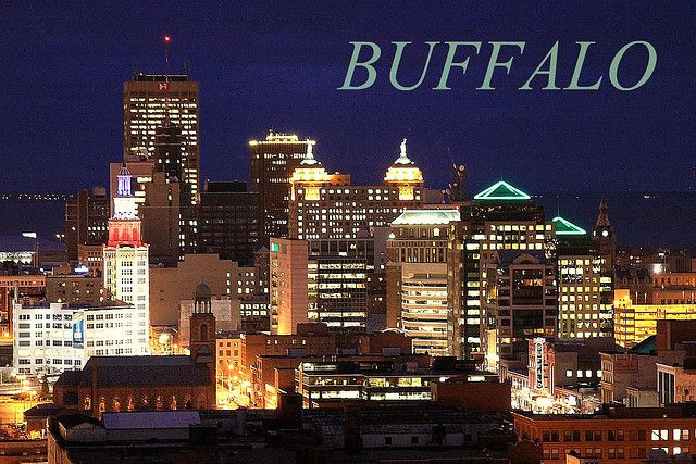 Buffalo New York Skyline Night 2 Buffalo City York Buffalo New York