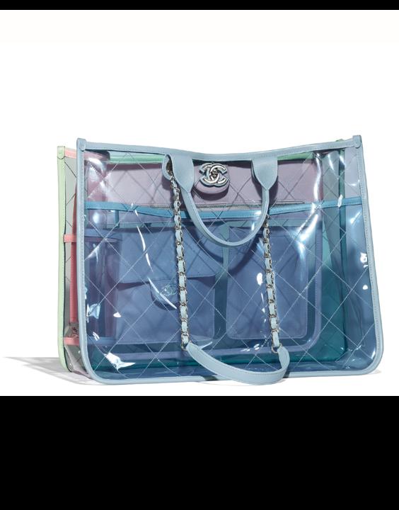 6b0ea93fa116 Chanel Blue Green Pink PVC Coco Splash Medium Shopping Bag