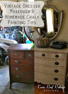 vintage dresser makeover homemade chalk painting tips bm rh pinterest com