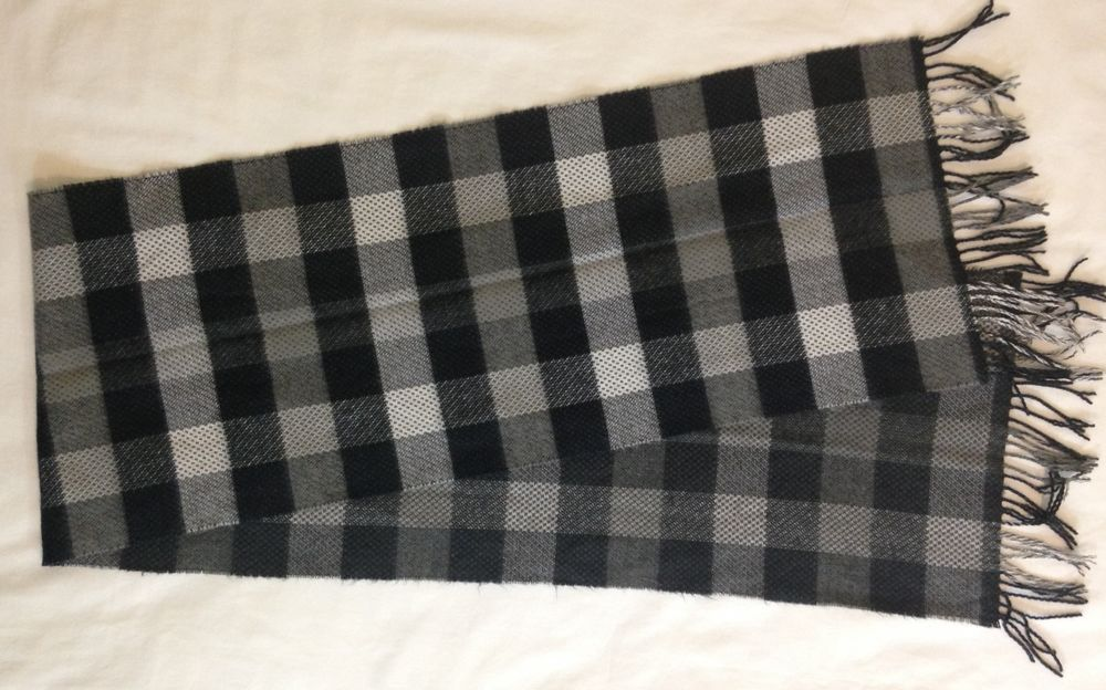 "D&Y Scarf Softer Than Cashmere Black Gray White Plaid Acrylic W Fringe  63""x12"" #DY #Scarf"