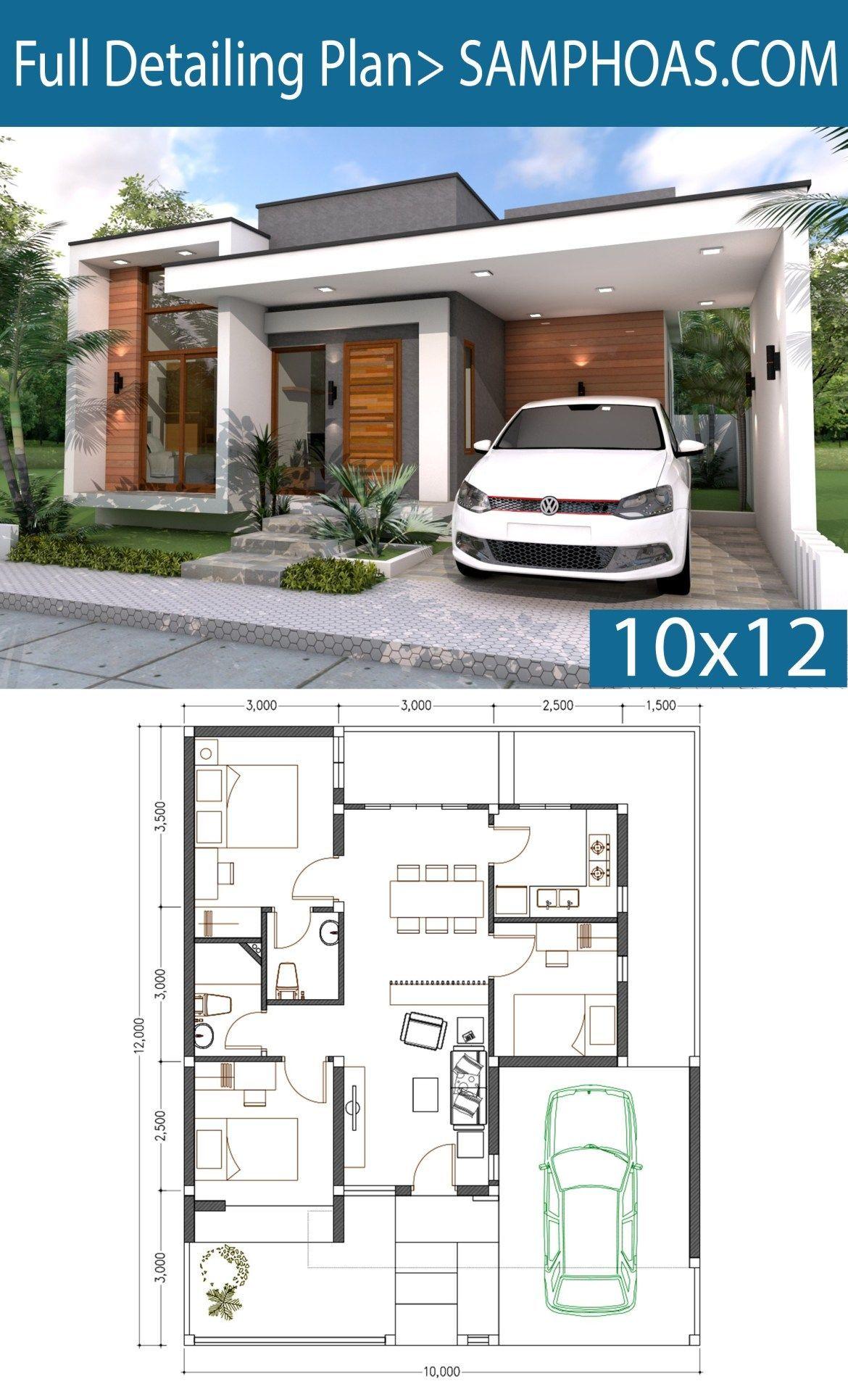 3 Bedrooms Home Design Plan 10x12m Samphoas Plansearch Arsitektur Rumah Denah Rumah Denah Desain Rumah