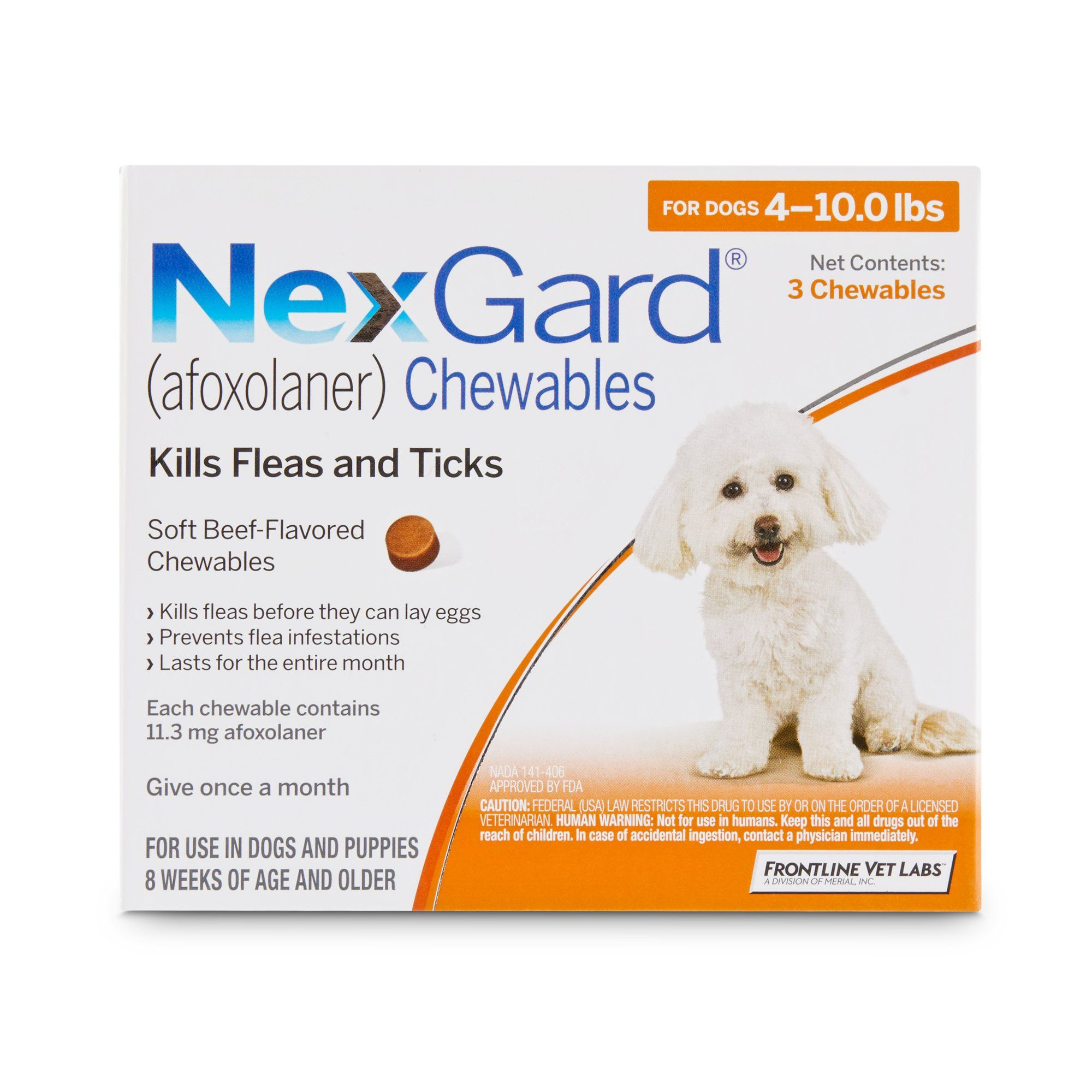 Nexgard Chewables Orange For Dogs 4 To 10 Lbs 3 Pack