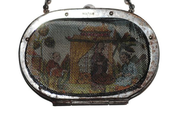 Scarce Georgian Chinoiserie Purse Antique Silesian Wirework French Brevete Handbag Coin Accessory Chinese Print Victorian Vintage