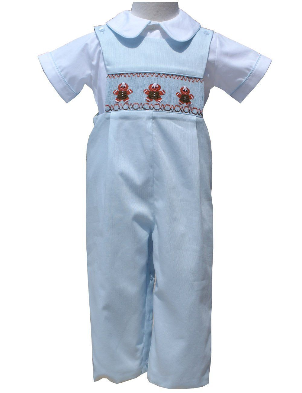 8561222712c1 Gingerbread Boy Christmas Smocked Longall | For my babies | Boys ...