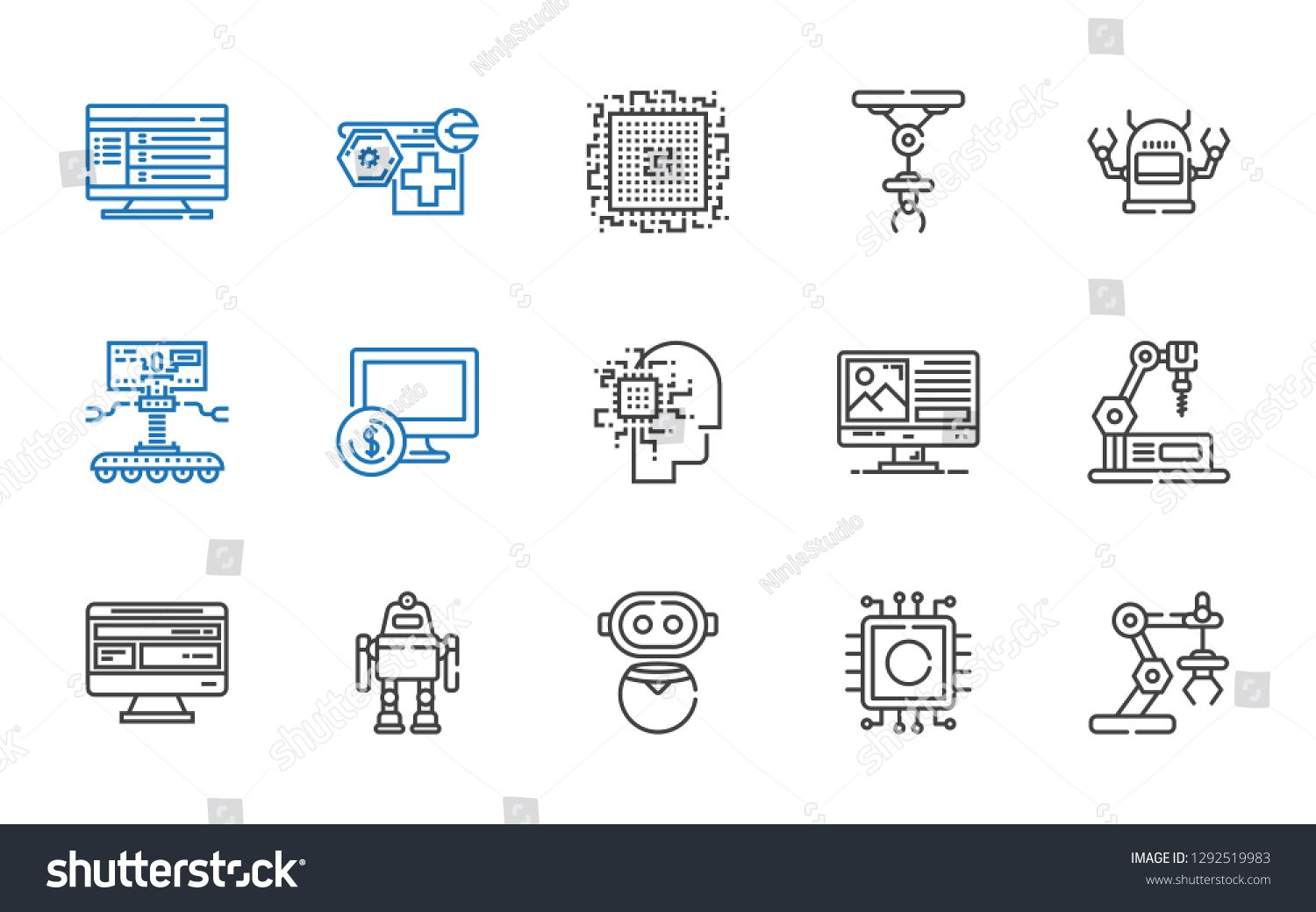Tech Icons Set Collection Of Tech With Industrial Robot Cpu Robot Computer Artificial Intelligence Editable And S Icon Set Icon Creative Resume Templates