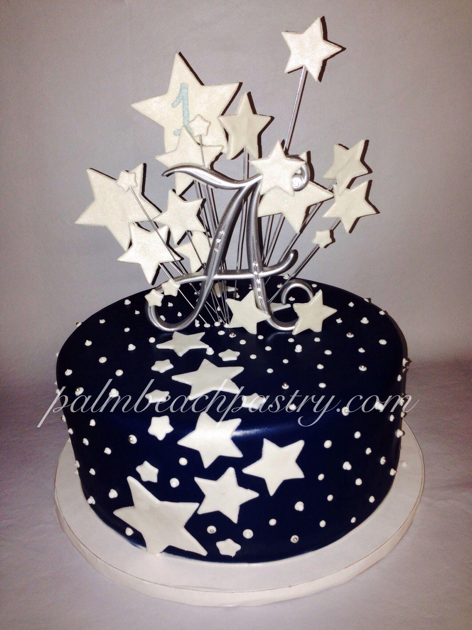 Starburst Galaxy Star Cake With Midnight Blue Fondant