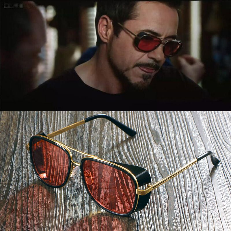985298090d Male Steampunk Sunglasses Tony Stark Iron Man Sunglasses Vintage Sunglases  Men Luxury Brand Sunglasses Steampunk Sun Glasses