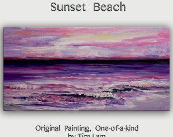 Pintura abstracta original arte mar amanecer Playa onda en by elseart | Etsy