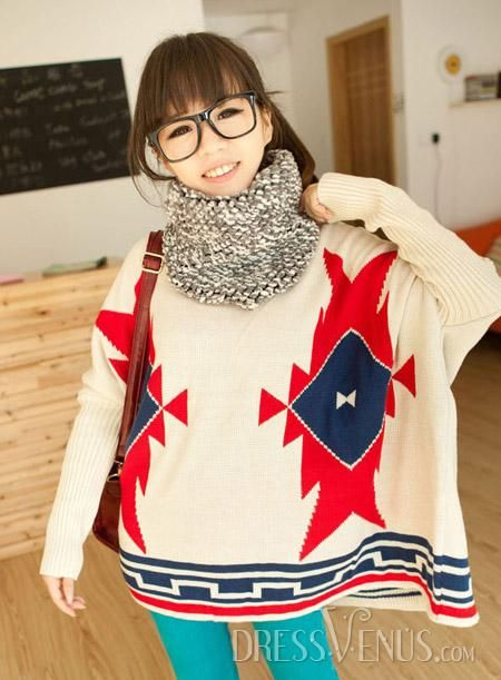 US$31.99 Distinctive Loose Round Neckline Rhomb Bat Knit Sweater . #Knitwear #Rhomb #Sweater #Bat