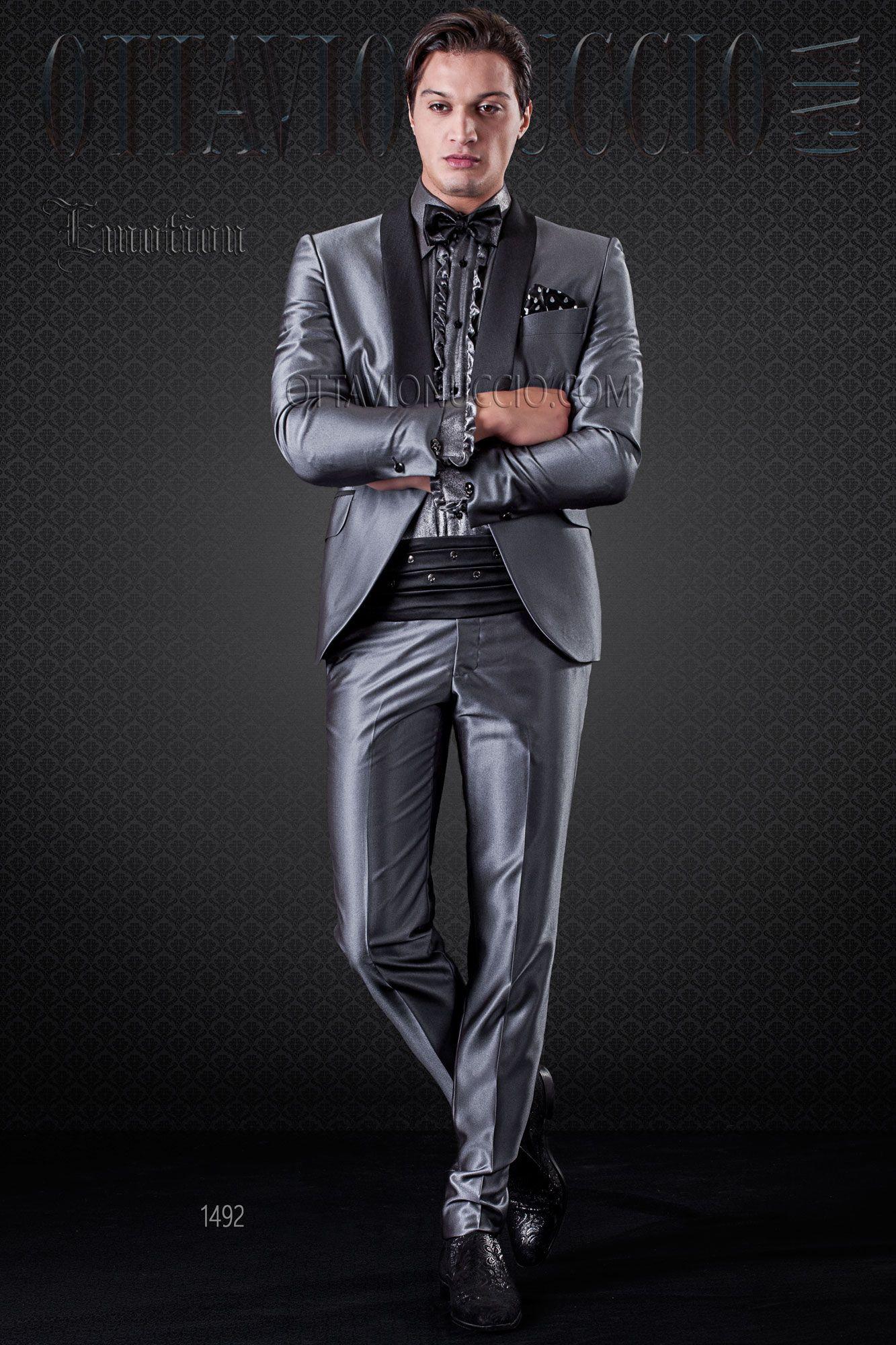 Grey Tuxedo with shawl black lapel | shiny suit | Pinterest
