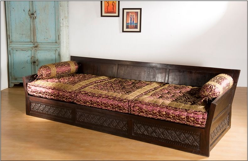 Carved high back sofa triple indian homes pinterest for Sofa bed india