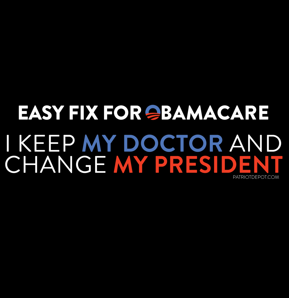 Share PatriotDepot and get a coupon for $5 off your order of $25 or more! Easy Fix for Obamacare T-Shirt #patriotdepot