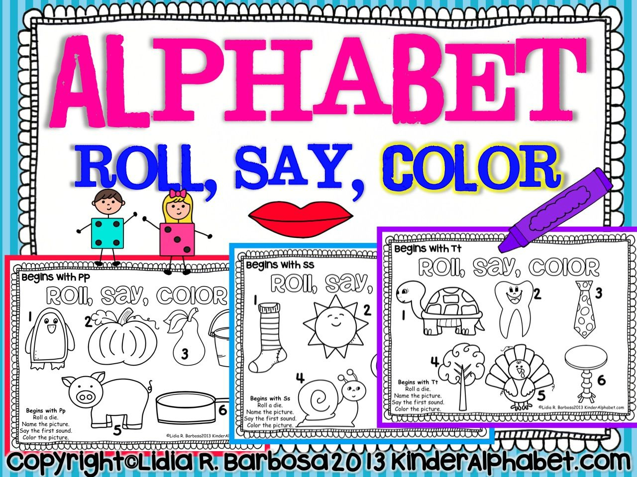 Alphabet Roll, Say, Color a HandsOn game to learn sounds