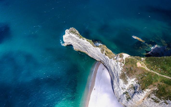 Lataa kuva Etretat, kiviä, meri, Englanti Kanava, näkymä ylhäältä, Normandy, Ranska, kesällä