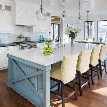 Blue Kitchen Island With Yellow Maze Fabric Counter Stools