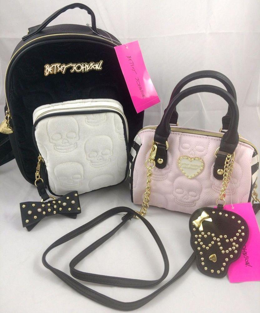 Betsey Johnson 4pc Skull Set Velour Velvet Backpack Crossbody Handbag  Mirror  BetseyJohnson  BackpackStyle b64eb495cfc14