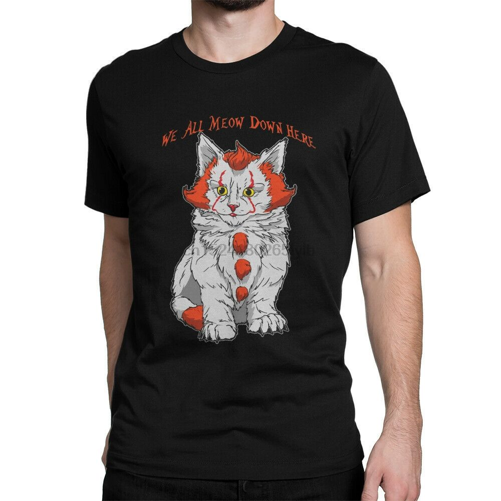 Crew Neck T Shirts We All Meow It Movie Clown Cat Down Here Pennywise In 2020 Movie T Shirts Funny Shirts White Tee Shirts