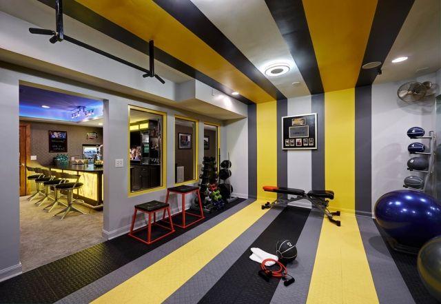 Heim Fitnessstudio heim fitnessstudio einrichten modern streifen gelb grau home