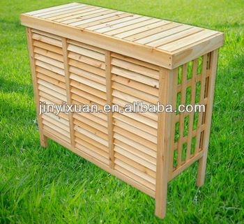 Wooden Air Conditioner Cover With Shutter Decorative Air