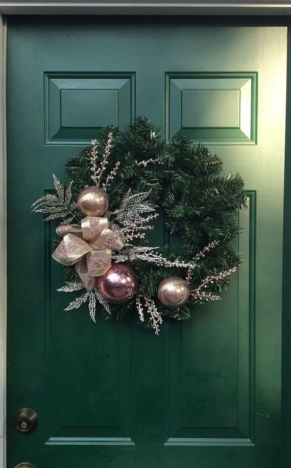 Photo of Rose Gold Weihnachtskranz-Seide Rose Gold Urlaub Dekor-Gold Kranz-Rose Gold Ornamente-Rose Go…