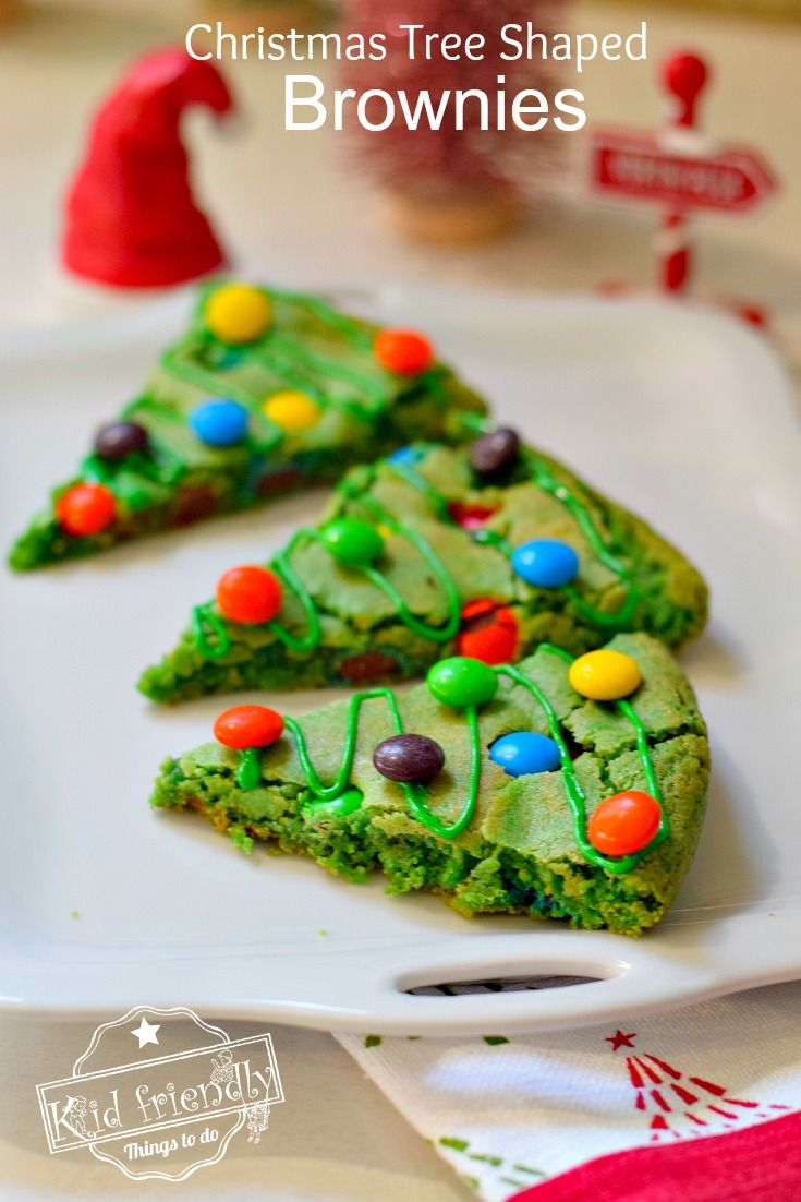 Christmas Tree Shaped Brownies | Kid Friendly Things To Do Easy to make, green, decorated with M&Ms