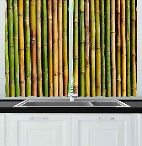 ambesonne kitchen decor collection, bamboo background nature zen