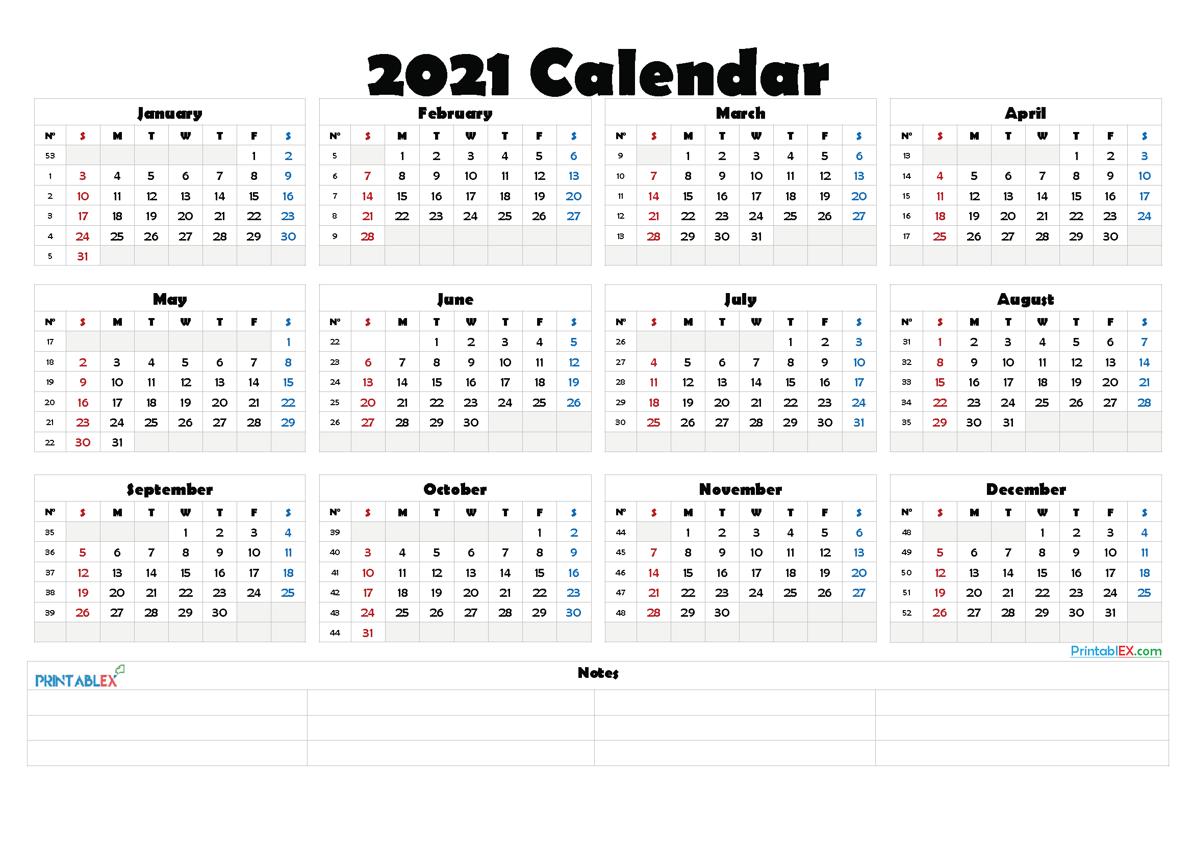 2021 Free Printable Yearly Calendar - 21ytw155 in 2020 ...
