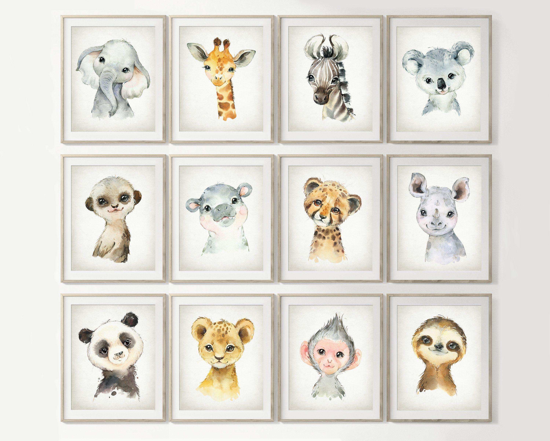 Photo of Cute Animals Print Set of 12, Watercolor ZOO Baby Animal Nursery Wall Art, Safar…