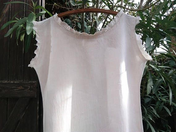 Victorian Linen Nightgown Monogram Antique French Off White Linen Dress Medium Large Costumes Movies Plays #sophieladydeparis