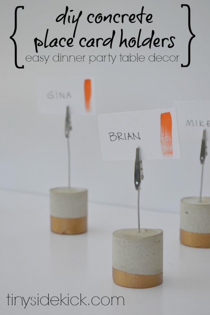 Table Card Holder Ideas diy clay bowl place card holders Diy Painted Concrete Place Card Holders