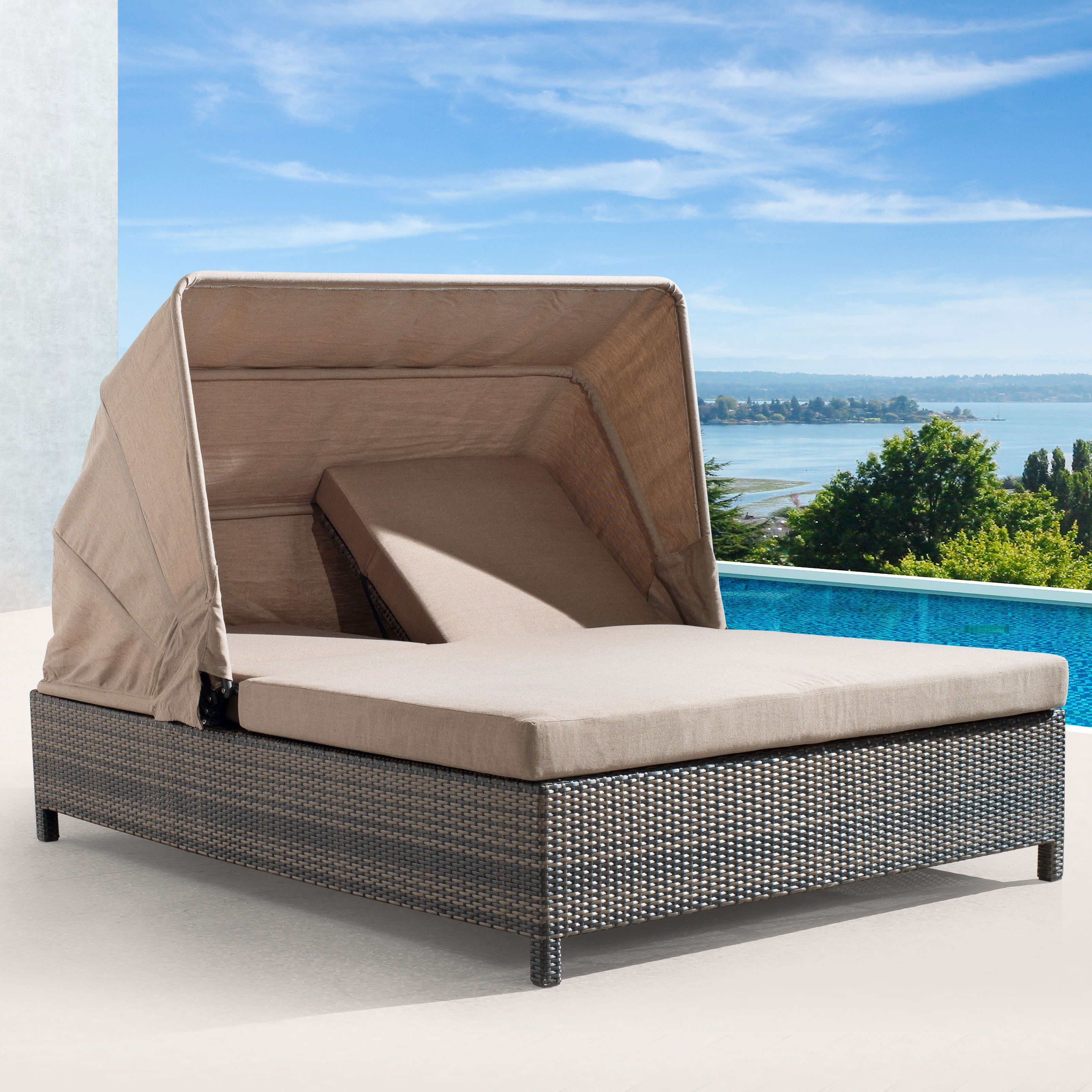 Zuo Vive Siesta Key All Weather Wicker Double Chaise Lounge | From  Hayneedle.com