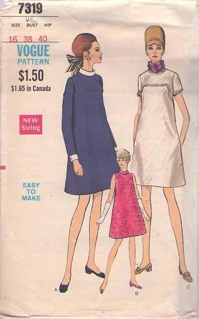 0a079a5bfa7 MOMSPatterns Vintage Sewing Patterns - Vogue 7319 Vintage 60 s Sewing  Pattern SWELL Easy to Make Mod Space Age Minimalist Maternity Cocktail  Party Dress