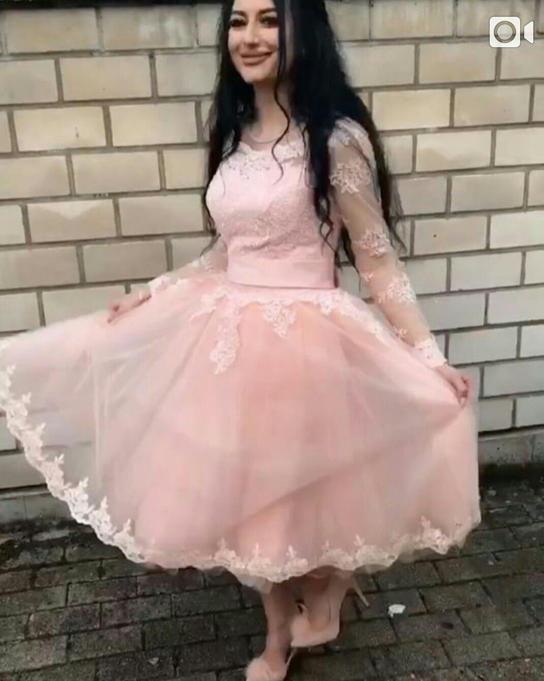 Lovely Pink Tulle Lace Appliques Short Prom Dress 2018 Tea Length ...