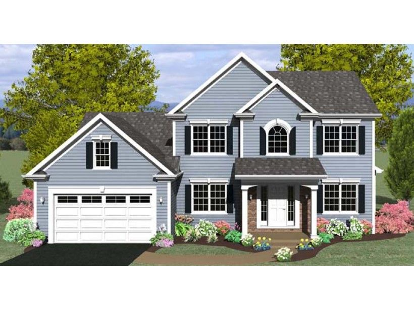Colonial Style House Plan 3 Beds 2 5 Baths 1886 Sq Ft Plan 1010