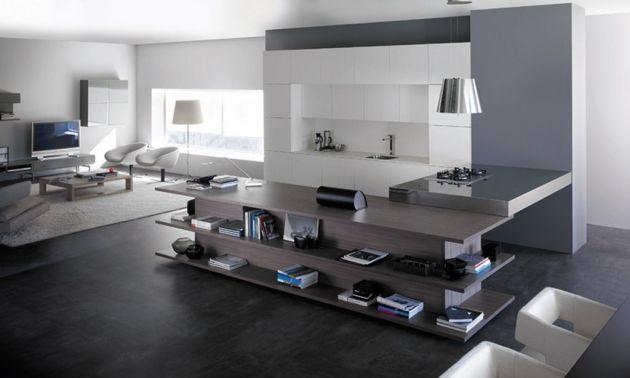 Moderne Einrichtung Im Loft Stil Einbauküche In Weiß Grifflose Schranktüren