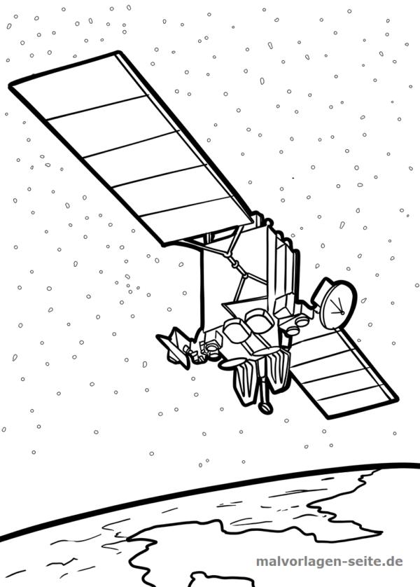 malvorlage satellit  weltraum  kostenlose ausmalbilder
