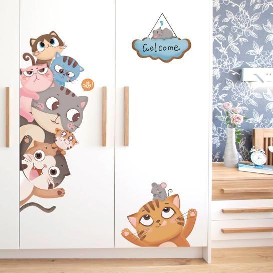Wandtattoo Wandaufkleber Wandsticker Kinderzimmer Katzen